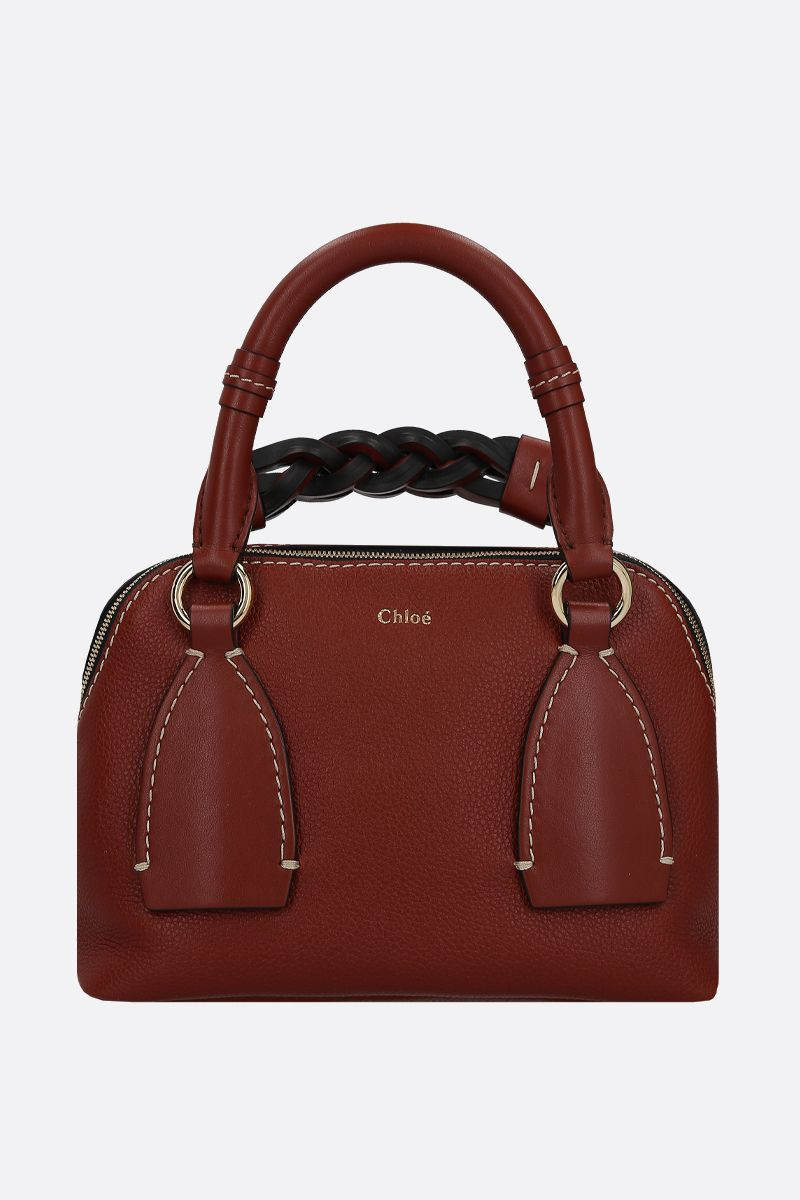 CHLOÈ: Daria small grainy and smooth leather handbag Color Brown_1