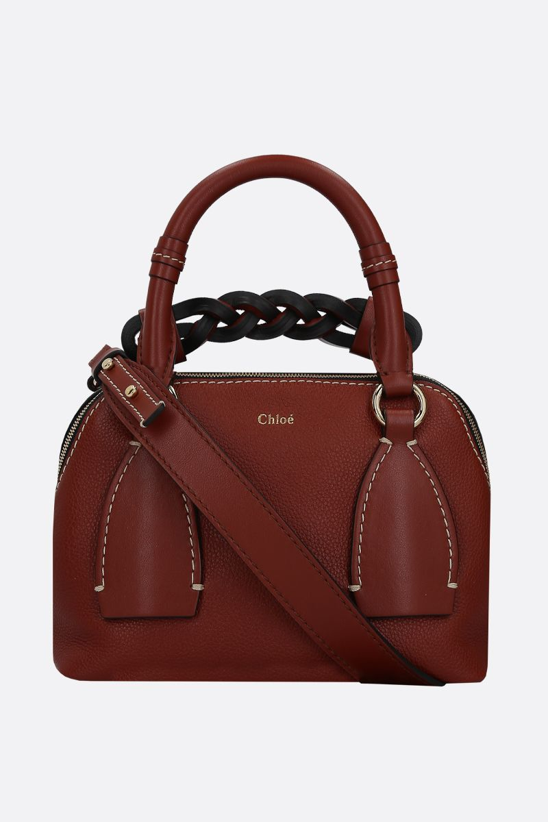 CHLOÈ: Daria small grainy and smooth leather handbag Color Brown_2
