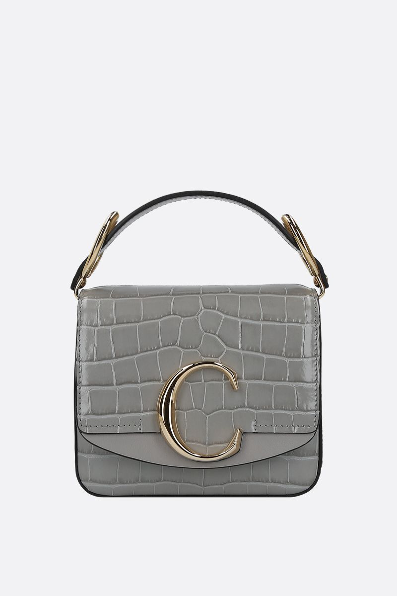 CHLOÈ: Chloè C mini crocodile embossed leather shoulder bag_1