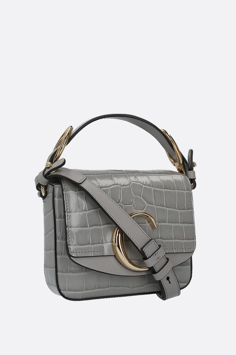 CHLOÈ: Chloè C mini crocodile embossed leather shoulder bag_2