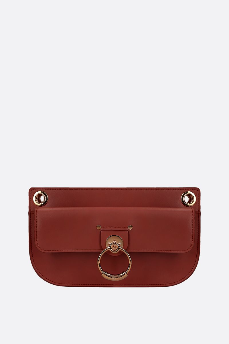 CHLOÈ: Tess mini shiny leather crossbody bag Color Brown_1
