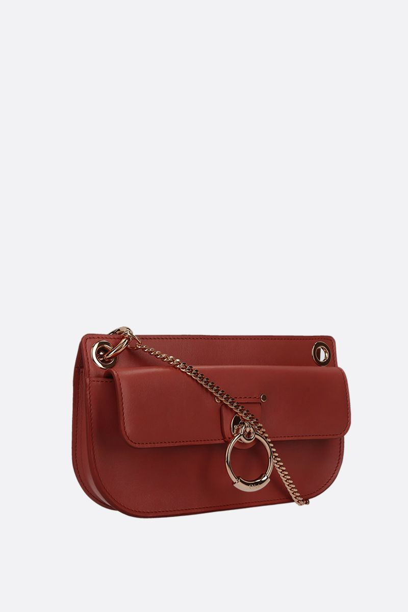 CHLOÈ: Tess mini shiny leather crossbody bag Color Brown_2