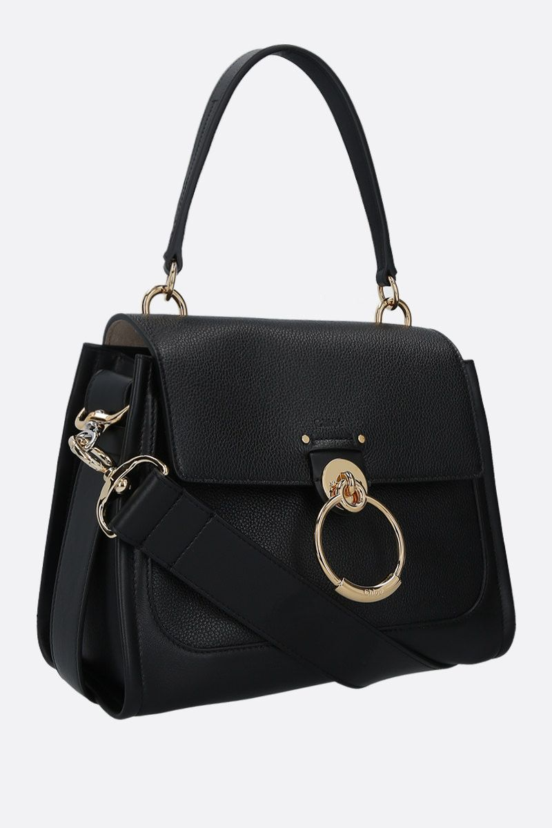 CHLOÈ: Tess small grainy and smooth leather handbag Color Black_2