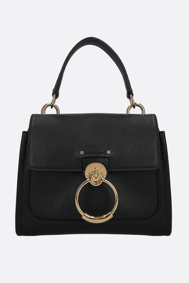 CHLOÈ: Tess mini grainy and smooth leather handbag Color Black_1