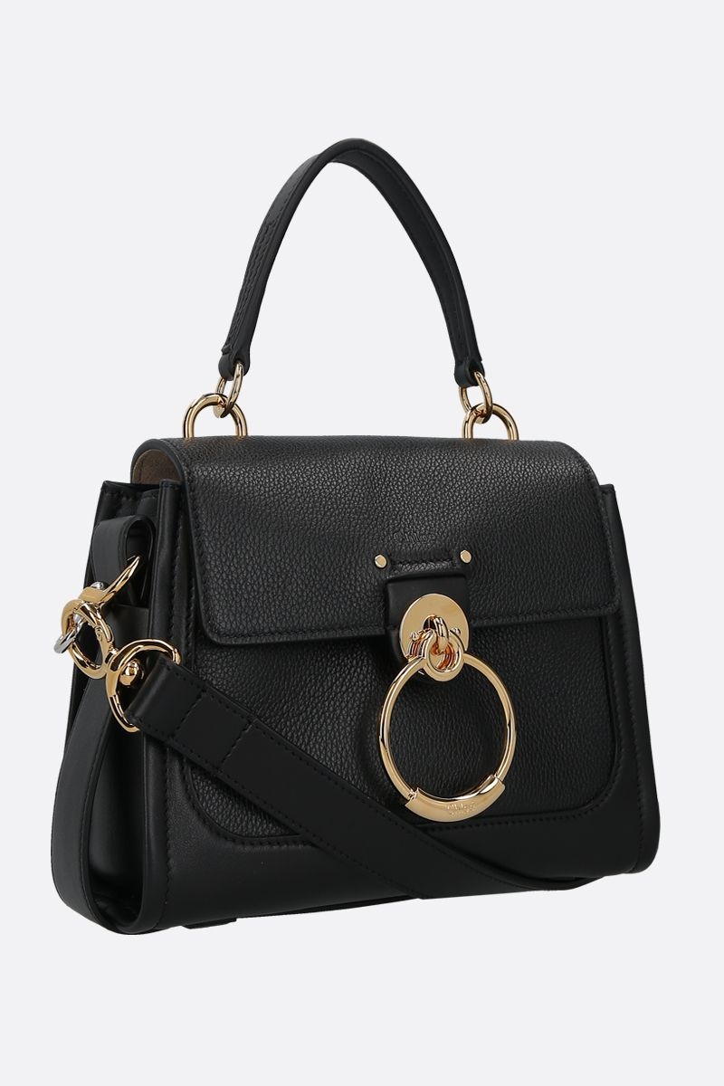 CHLOÈ: Tess mini grainy and smooth leather handbag Color Black_2