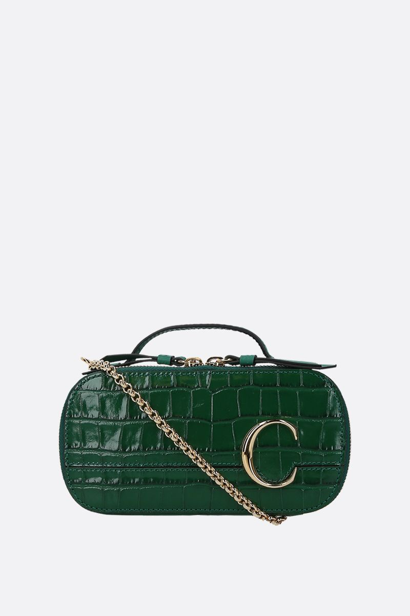 CHLOÈ: Chloè C Vanity mini crocodile embossed leather crossbody bag_1