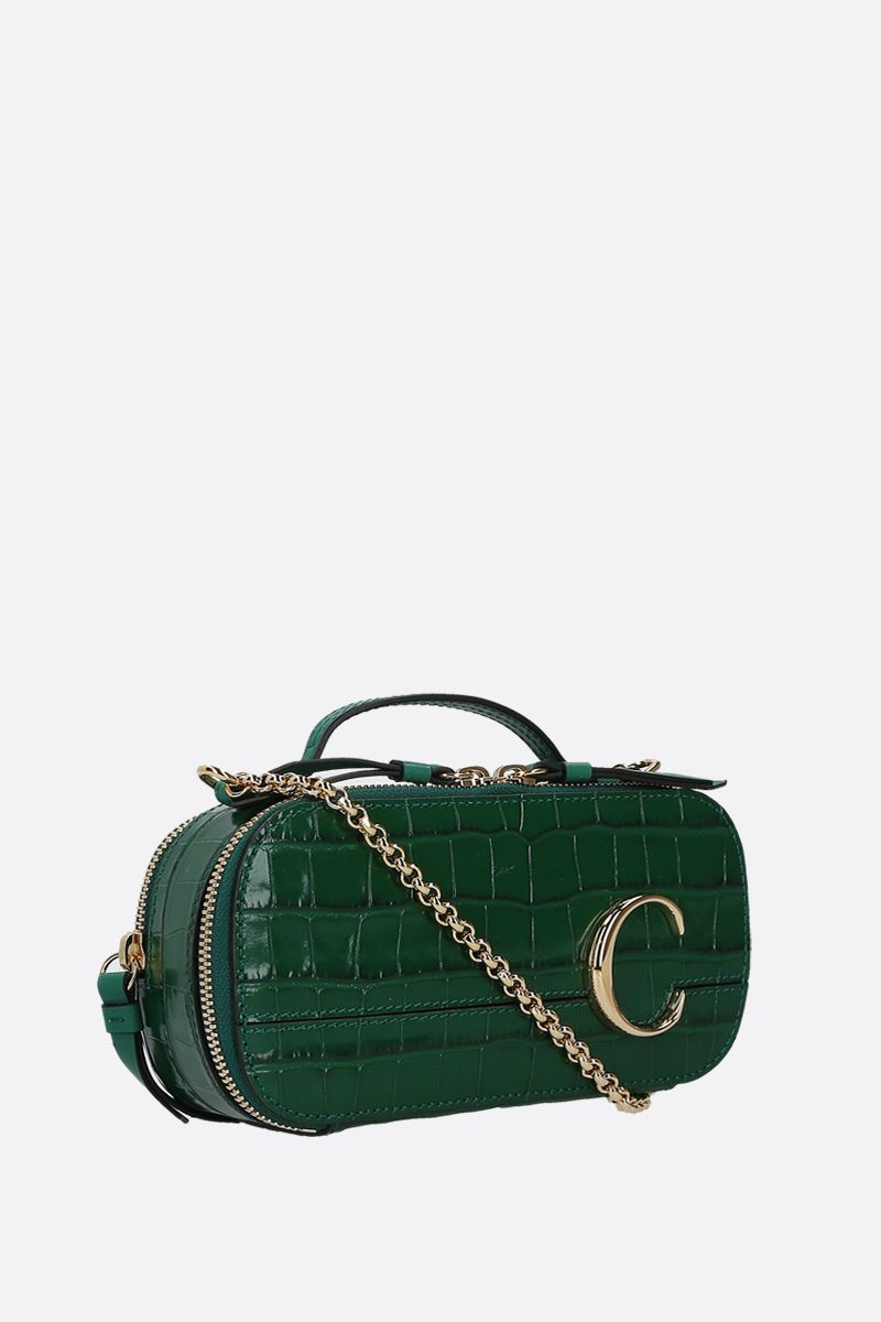 CHLOÈ: Chloè C Vanity mini crocodile embossed leather crossbody bag_2