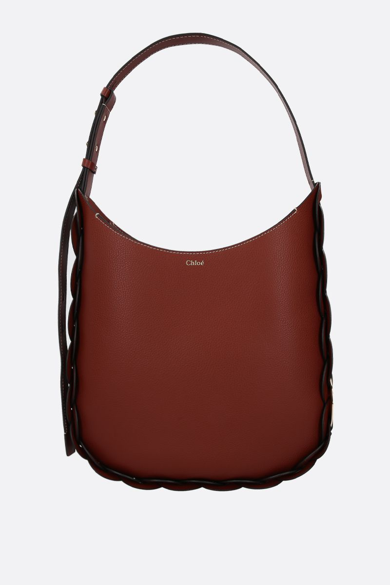 CHLOÈ: Darryl medium grainy leather shoulder bag Color Brown_1