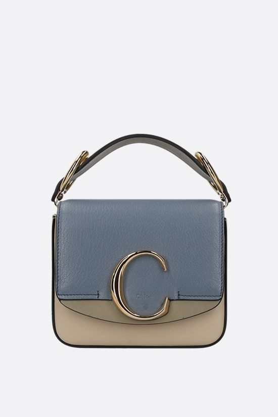 CHLOÈ: Chloè C mini smooth and grainy leather shoulder bag Color Multicolor_1