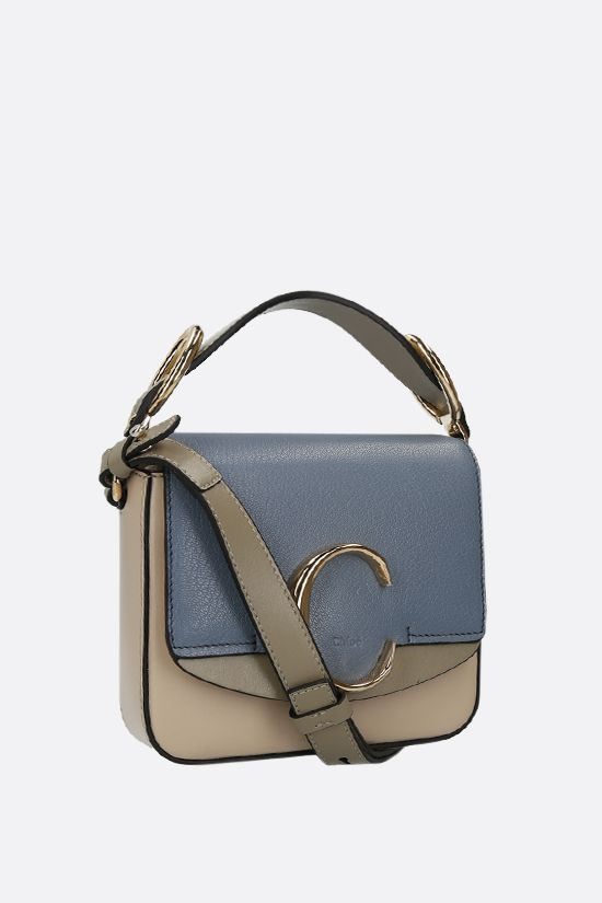 CHLOÈ: Chloè C mini smooth and grainy leather shoulder bag Color Multicolor_2