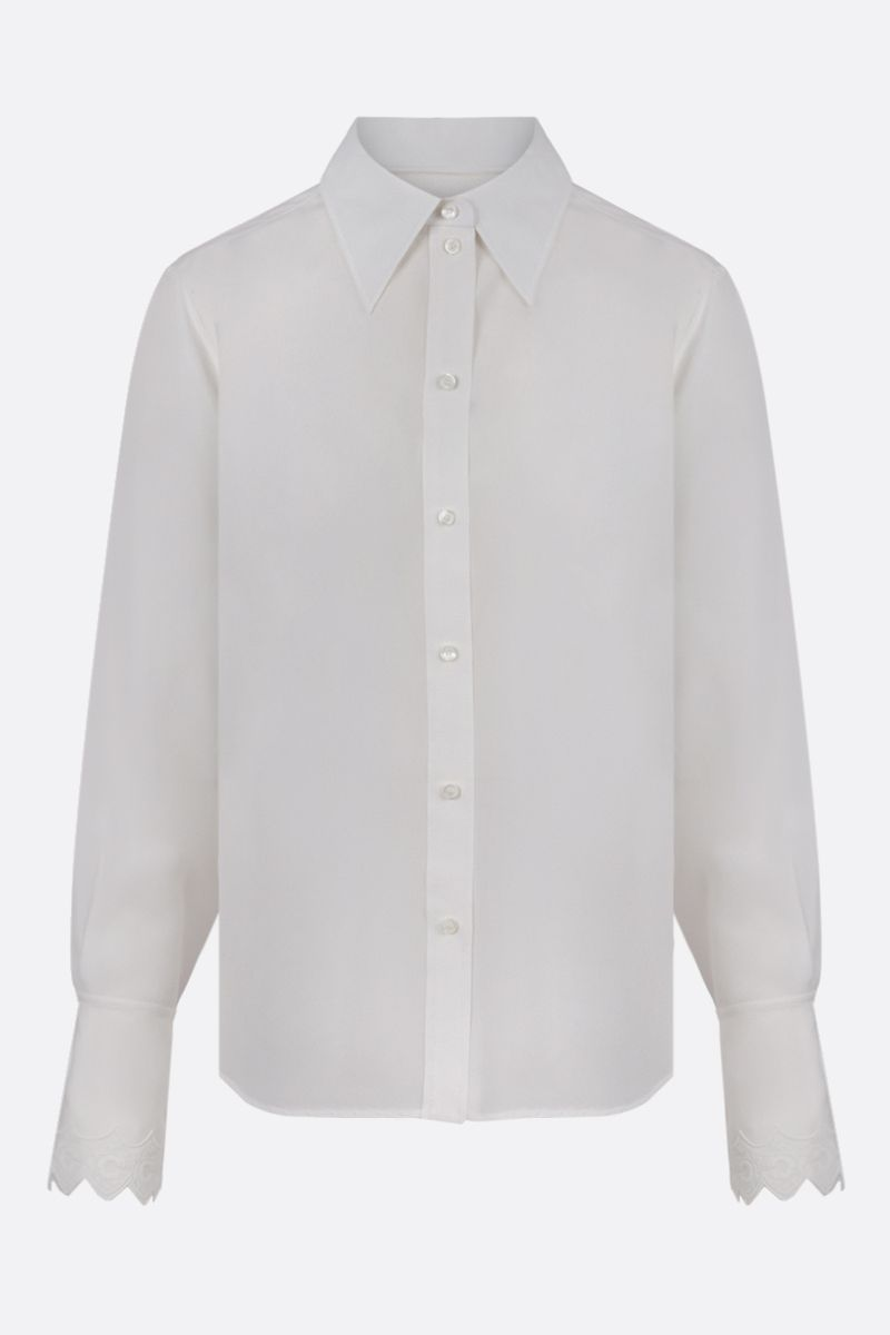 CHLOÈ: embroidered cuffs-detailed silk shirt Color White_1
