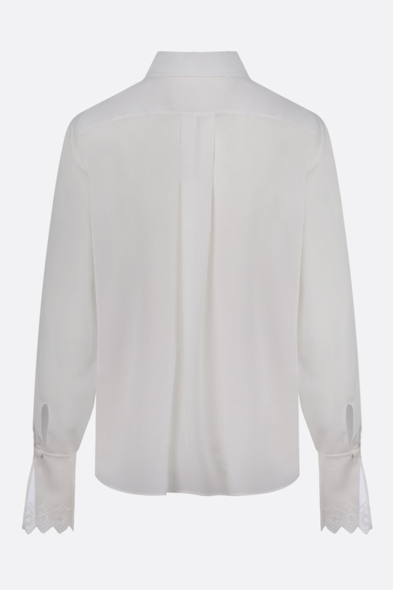 CHLOÈ: embroidered cuffs-detailed silk shirt Color White_2