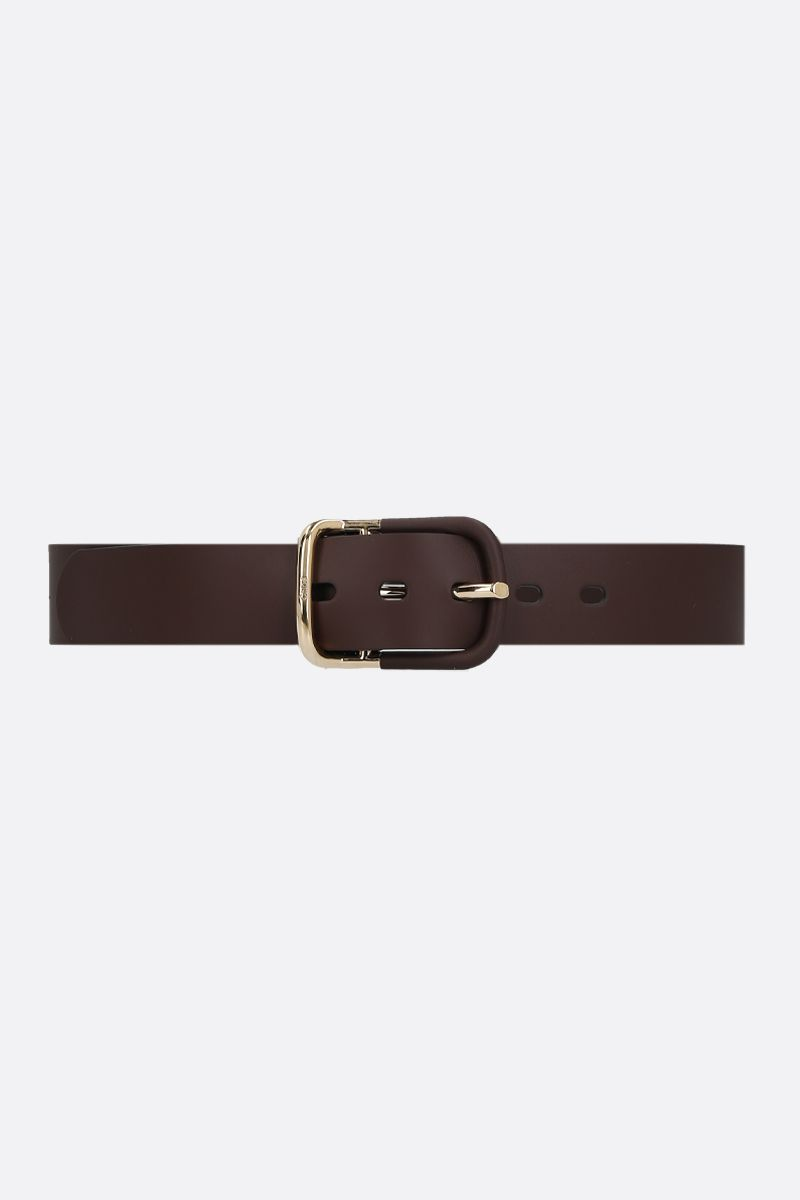 CHLOÈ: Drew shiny leather belt Color Brown_1
