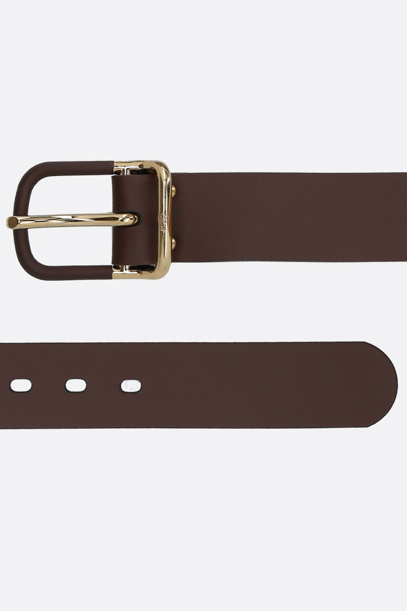 CHLOÈ: Drew shiny leather belt Color Brown_2