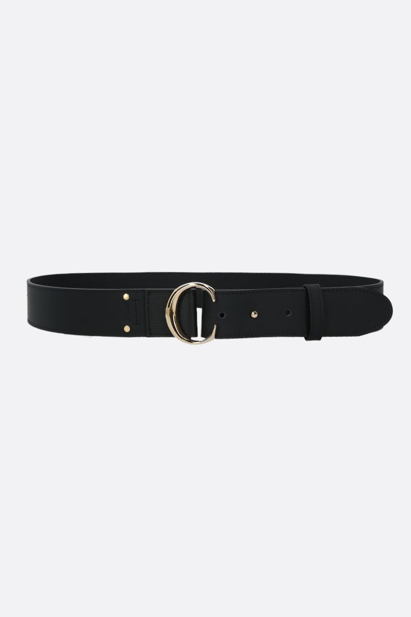 CHLOÈ: Chloè C smooth leather belt Color Black_1