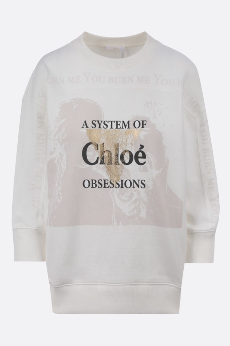 CHLOÈ: A system of Chloè obsessions print cotton sweatshirt Color White_1