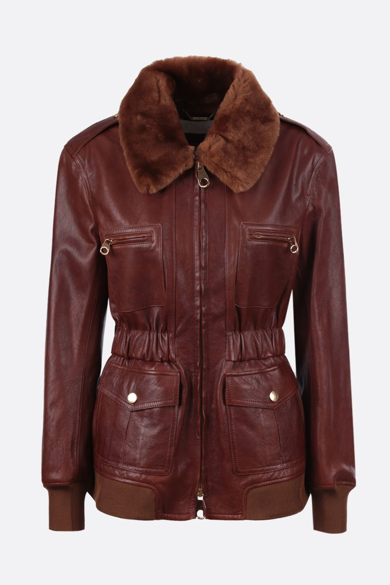 CHLOÈ: soft leather full-zip jacket Color Brown_1