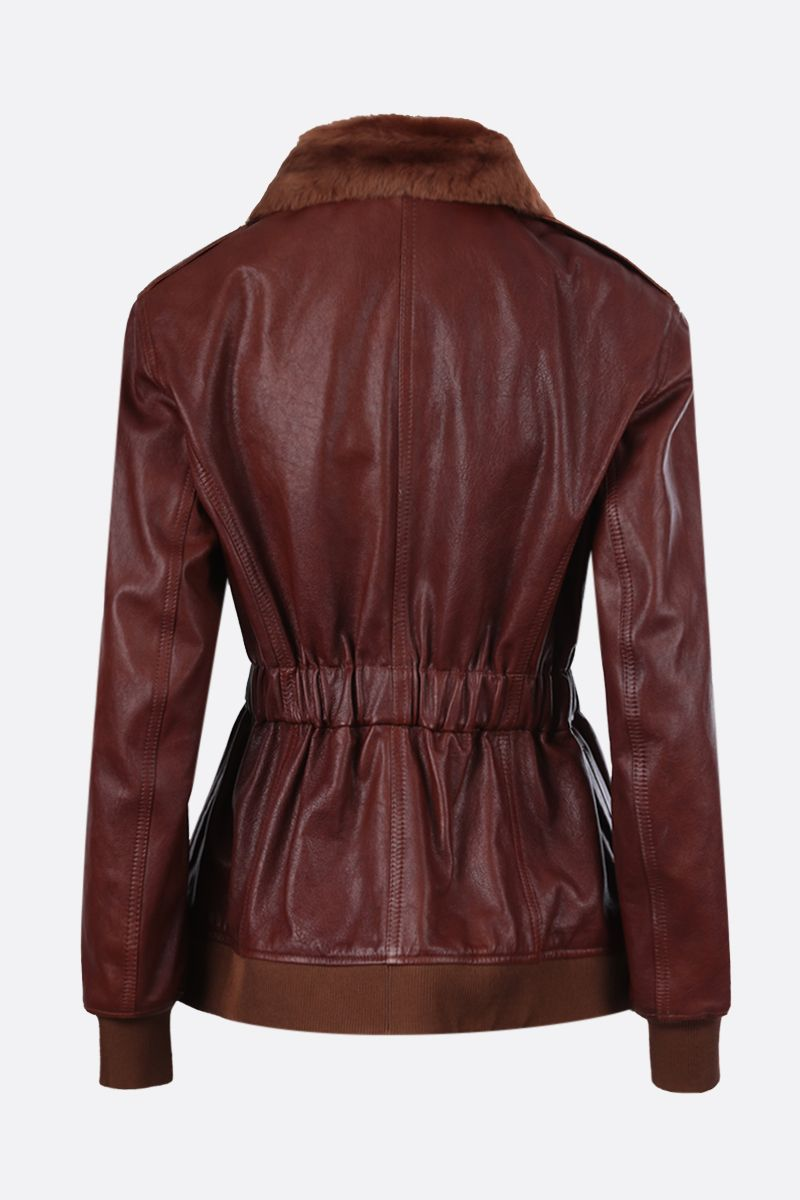 CHLOÈ: soft leather full-zip jacket Color Brown_2