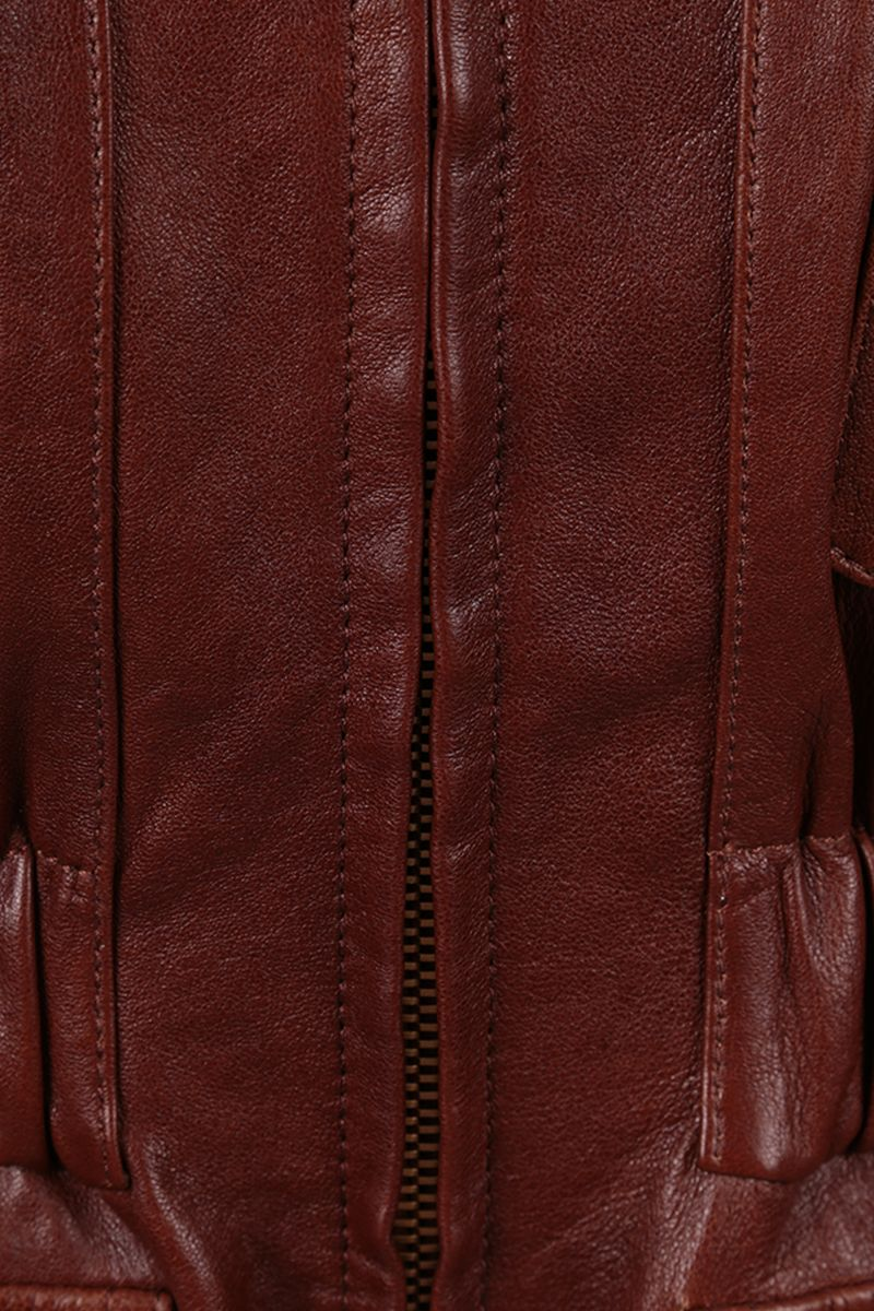 CHLOÈ: soft leather full-zip jacket Color Brown_3