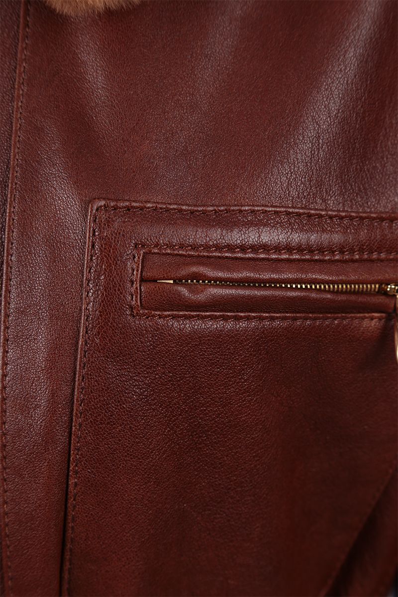 CHLOÈ: soft leather full-zip jacket Color Brown_4