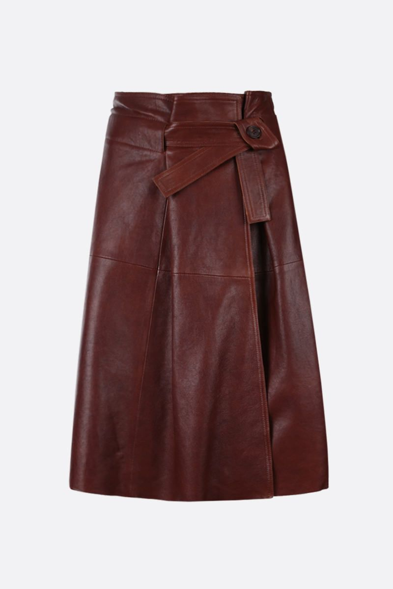 CHLOÈ: soft leather wrap skirt Color Brown_1