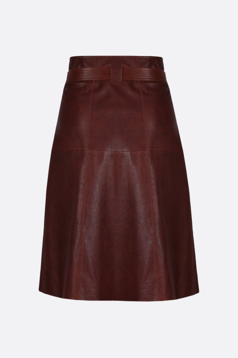 CHLOÈ: soft leather wrap skirt Color Brown_2