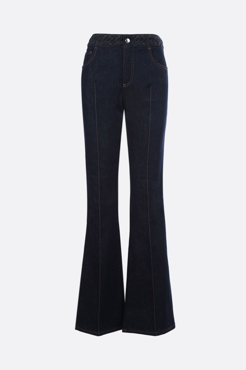 CHLOÈ: woven waistband-detailed flare jeans Color Blue_1
