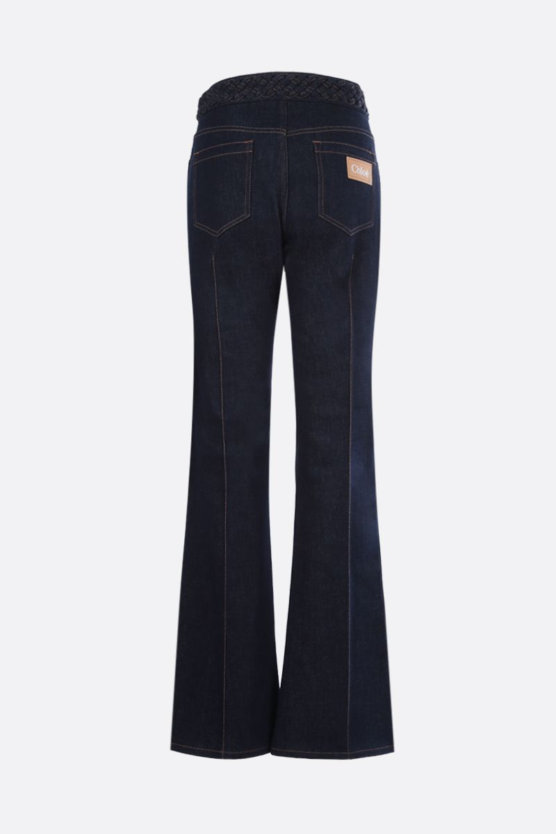 CHLOÈ: woven waistband-detailed flare jeans Color Blue_2
