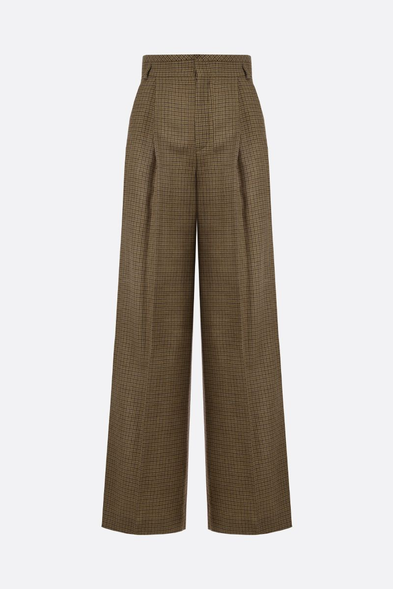 CHLOÈ: houndstooth wool flare pants Color Brown_1