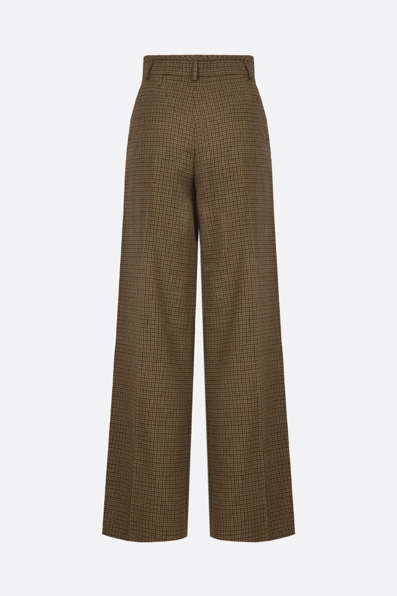 CHLOÈ: houndstooth wool flare pants Color Brown_2