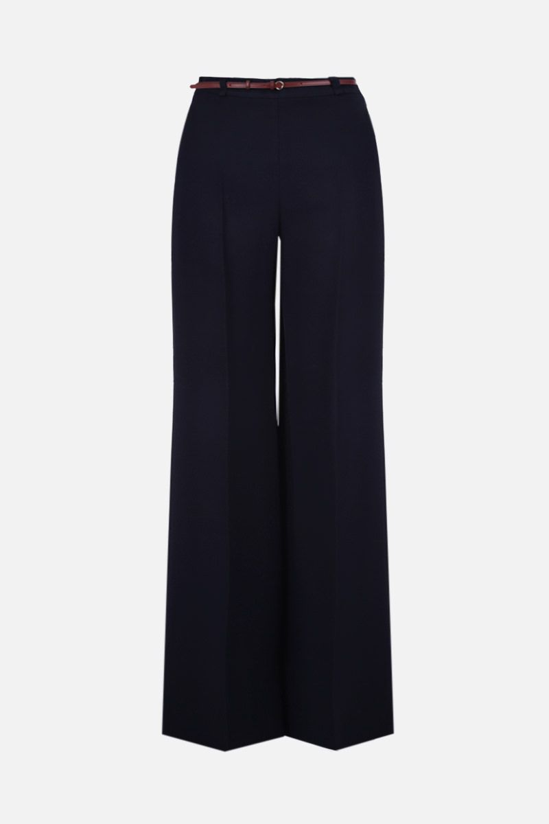 CHLOÈ: belt-detailed crepe flare pants Color Blue_1