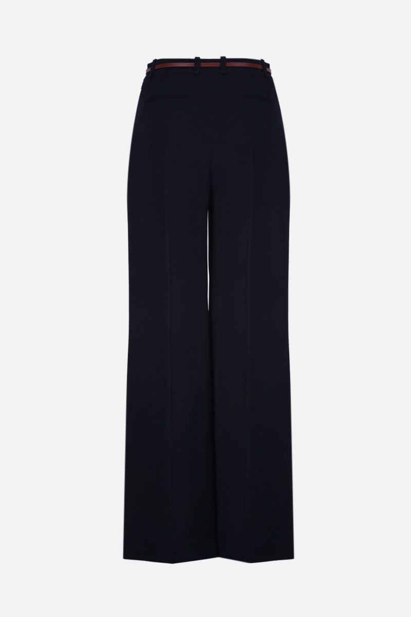 CHLOÈ: belt-detailed crepe flare pants Color Blue_2