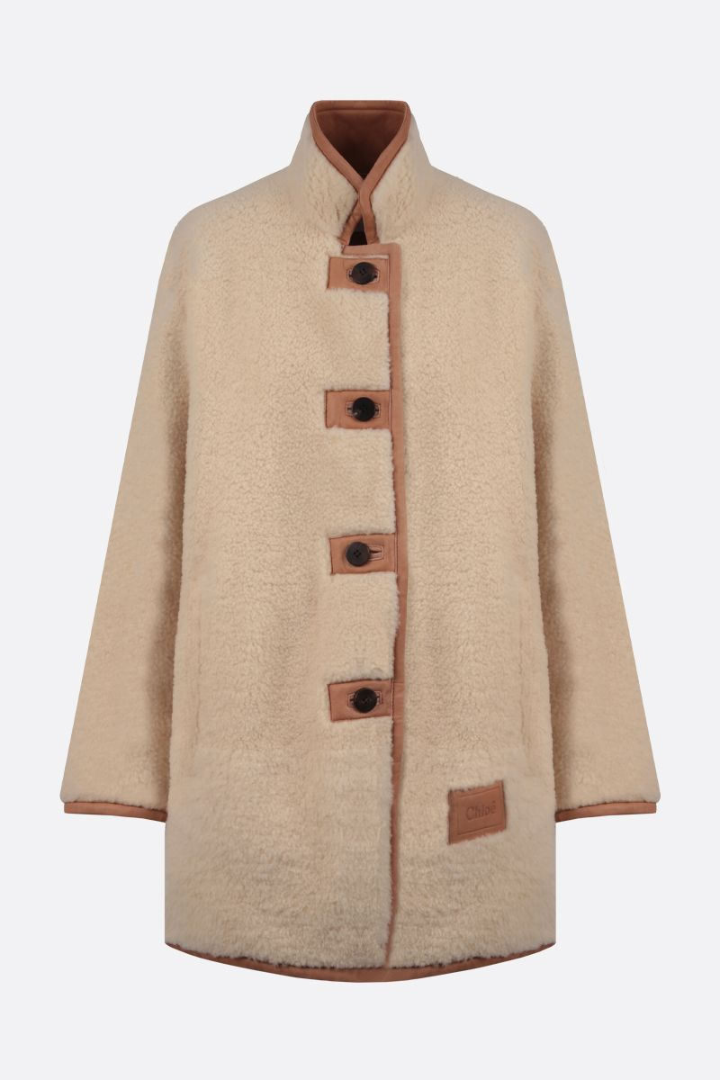 CHLOÈ: shearling single-breasted coat Color Neutral_1