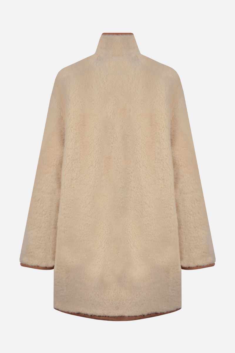 CHLOÈ: shearling single-breasted coat Color Neutral_2