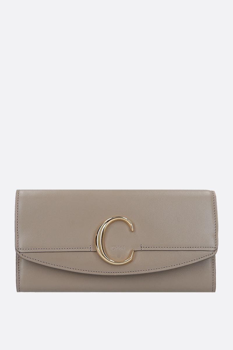 CHLOÈ: Chloè smooth leather flap wallet Color Grey_1