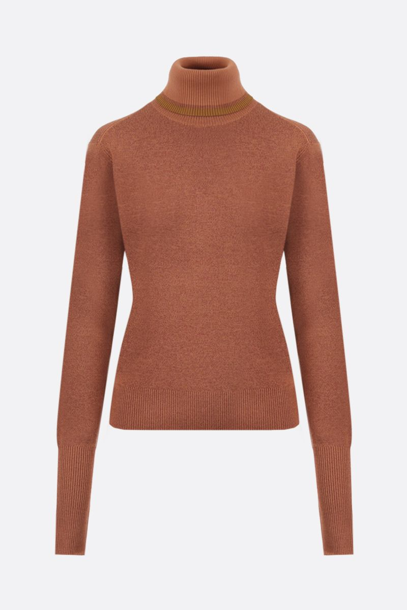CHLOÈ: wool silk blend turtleneck Color Orange_1