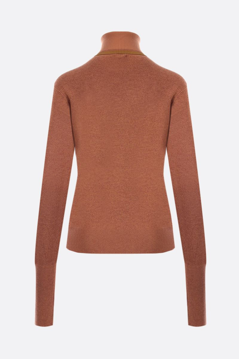 CHLOÈ: wool silk blend turtleneck Color Orange_2