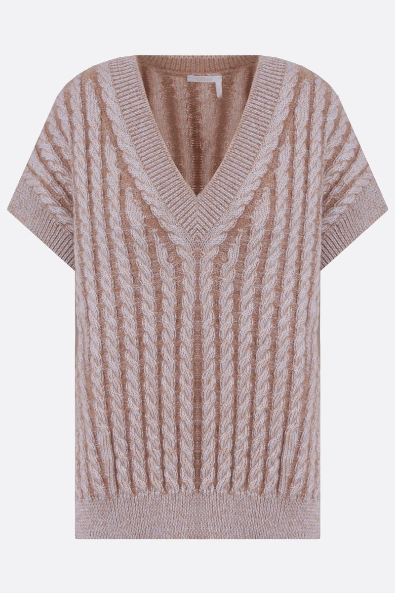 CHLOÈ: cable-knit wool blend sleeveless pullover Color Neutral_1