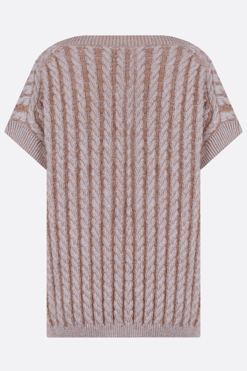 CHLOÈ: cable-knit wool blend sleeveless pullover Color Neutral_2