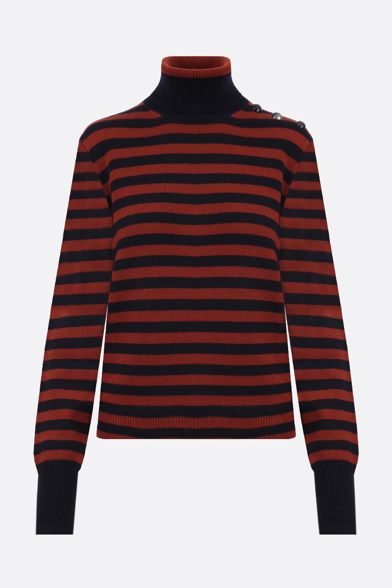 CHLOÈ: button-detailed striped cashmere turtleneck Color Blue_1