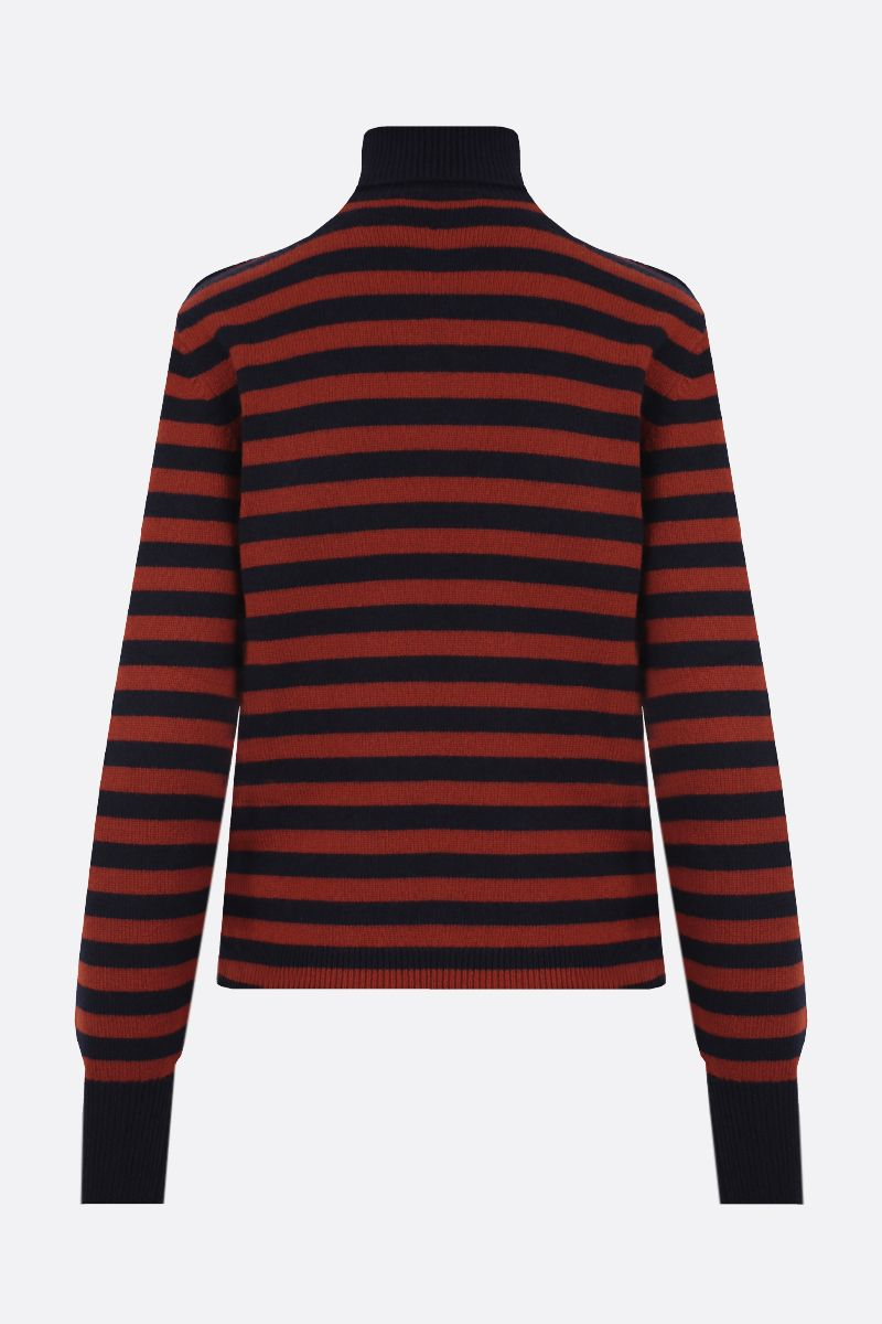 CHLOÈ: button-detailed striped cashmere turtleneck Color Blue_2