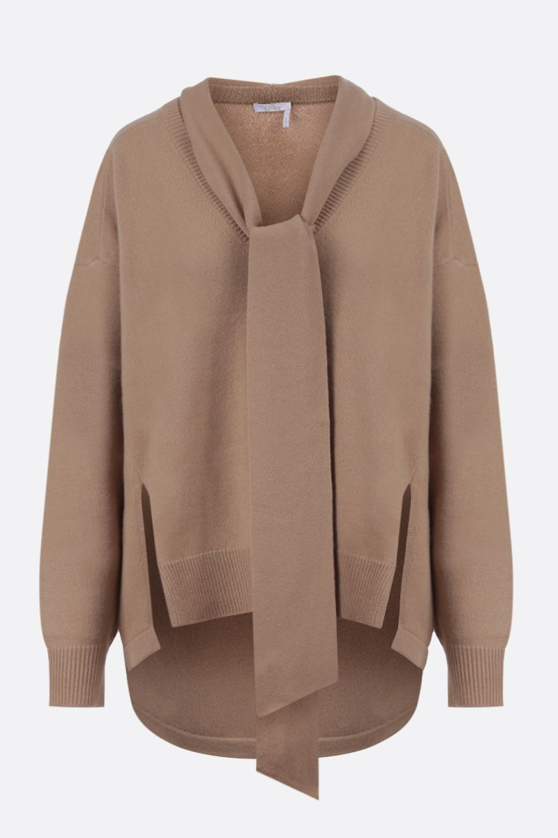 CHLOÈ: C embroidered cashmere pullover Color Neutral_1