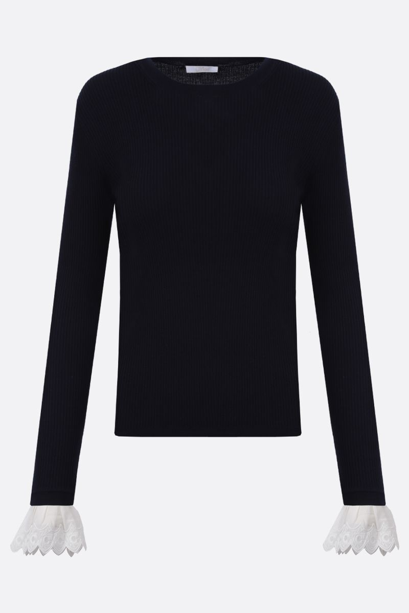 CHLOÈ: embroidered cuff-detailed wool pullover Color White_1