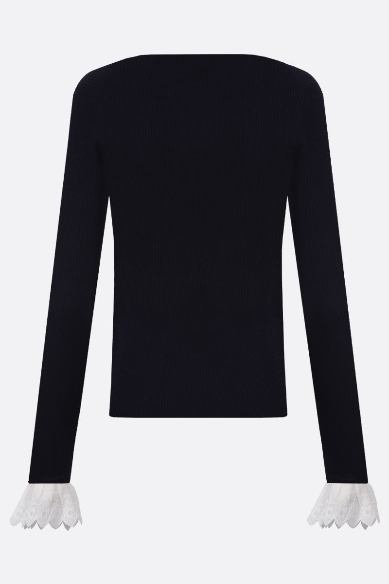 CHLOÈ: embroidered cuff-detailed wool pullover Color White_2
