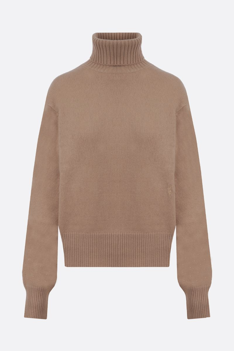 CHLOÈ: C embroidered cashmere turtleneck Color Neutral_1