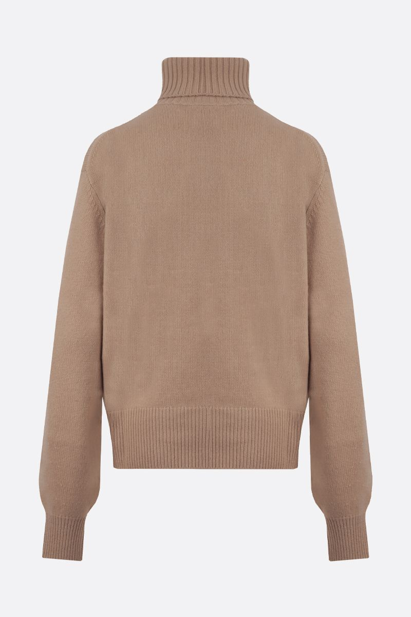 CHLOÈ: C embroidered cashmere turtleneck Color Neutral_2