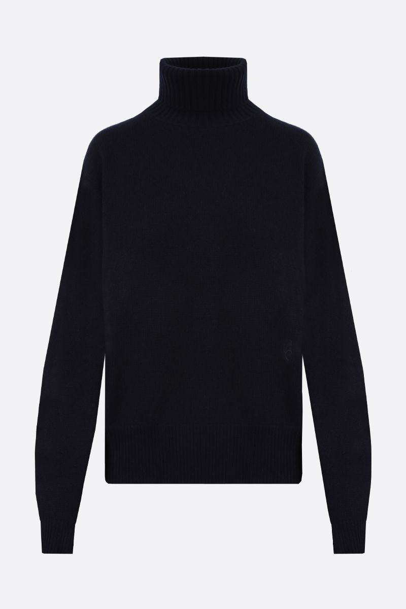 CHLOÈ: C embroidered cashmere turtleneck Color Blue_1