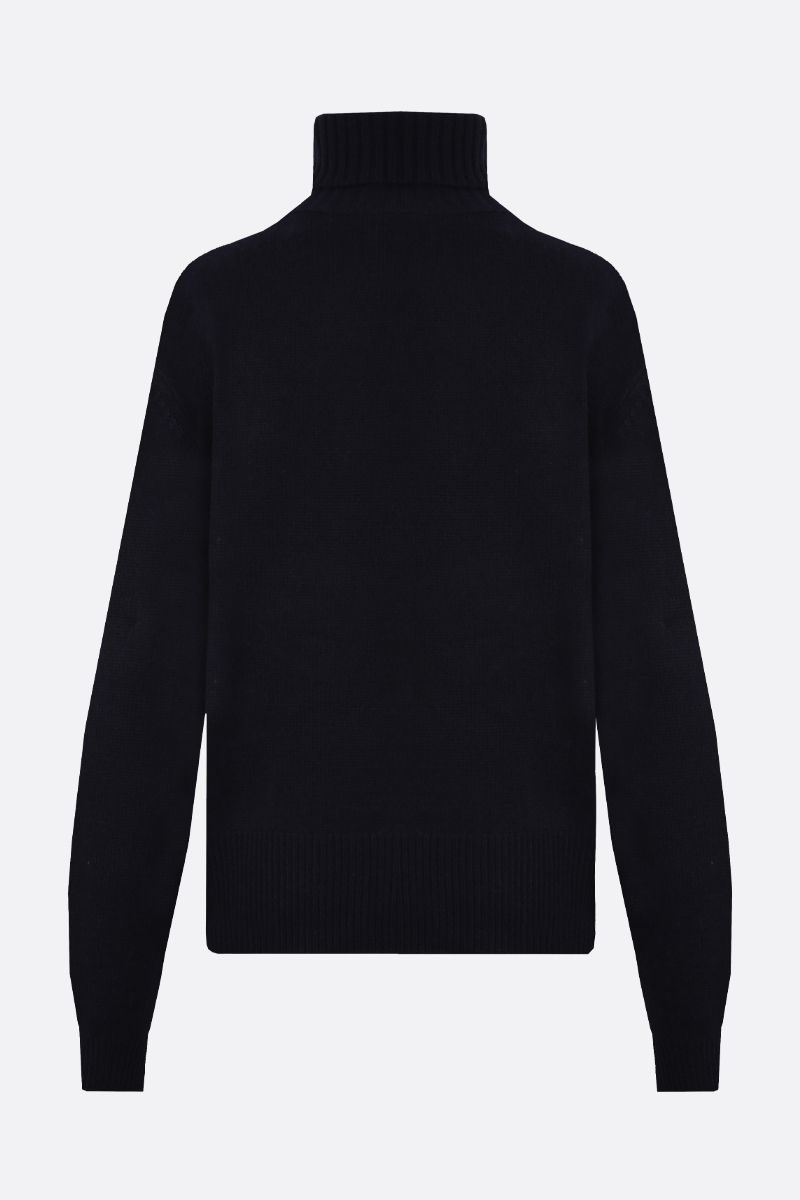 CHLOÈ: C embroidered cashmere turtleneck Color Blue_2