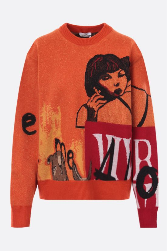 CHLOÈ: graphic intarsia wool cashmere blend pullover Color Orange_1