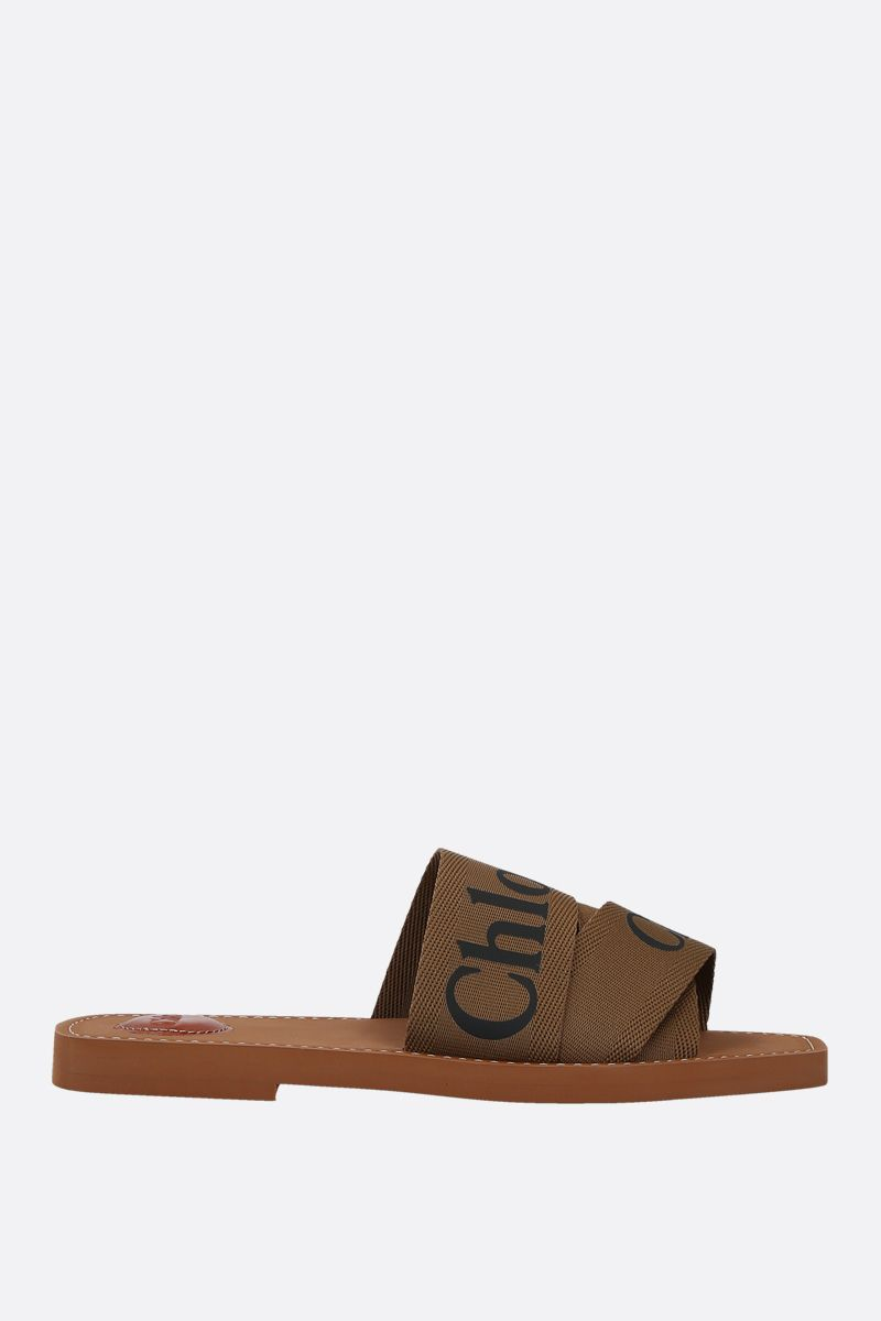 CHLOÈ: Chloè canvas flat sandals Color Brown_1